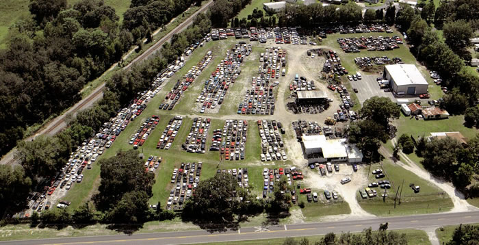 Ariel view of Central Florida Salvage Yard